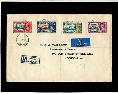Bahamas Usa Gb 1935 Kg V Silver Jubilee Registered First Day Cover - Nassau Cds
