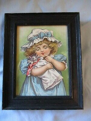 Vintage Art Print Little Victorian Girl w Cat Kitten Dressed Doll