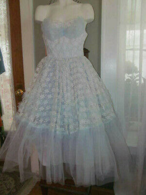 16d4ee73e39 BEAUTIFUL VINTAGE 1950S Dance Time by Phyllis Aqua All Over Lace ...