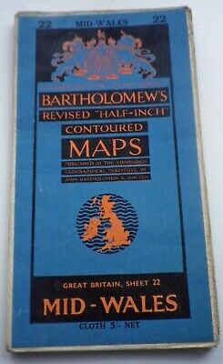 Vintage Bartholomew's Cloth Ordnance Survey Map 22 Mid-Wales