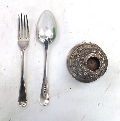 Antique Candle Stick Holder Spoon And Fork Sterling Silver  - D33