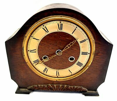 PERIVALE ENGLAND Vintage Decorative Hand Carved WOODEN MANTLE CLOCK / USED - D23