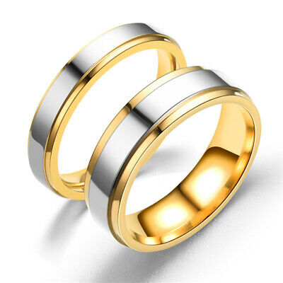 Stainless Steel Double Color Couples Rings Engagement Wedding Band Promise Ring