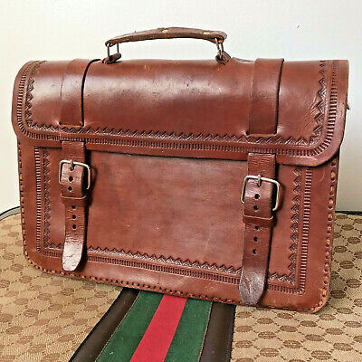 Vintage Hand Tooled Leather BRIEFCASE Satchel Bag Portfolio Mexico Aztec 70's