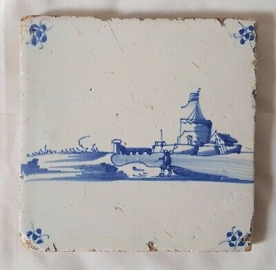 Charming Delft Antique Tile With Landscape Scene, 12.5Cm,