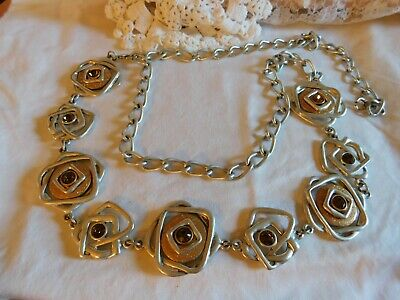 "Silver And Gold Wide Chain Belt Golden Rhinestone 20"" To 45"" Around"