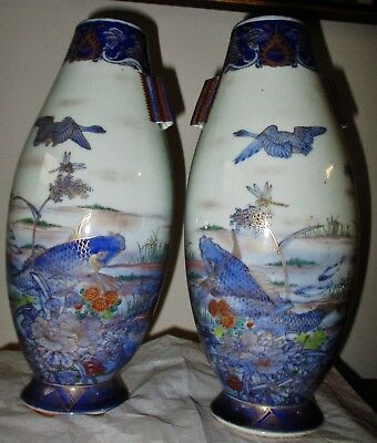 RARE pair ANTIQUE JAPANESE PORCELAIN IMARI VASES FUKAGAWA  KOI BIRDS SNAPDRAGONS