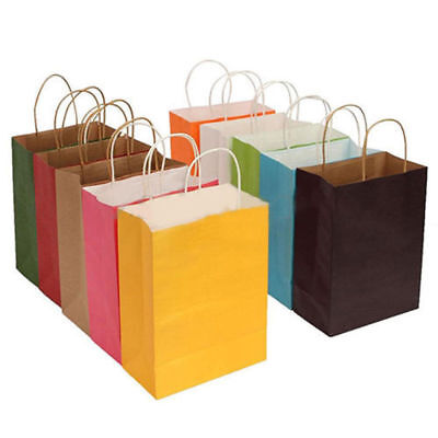Recyclable 10 Colors Party Bags Kraft Paper Present With Handle Shop Loot Bag