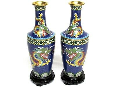 """2 Vintage Blue Cloisonne Chinese DRAGON Matching 10.5"""" Tall VASE +Stands SET/Lot"""
