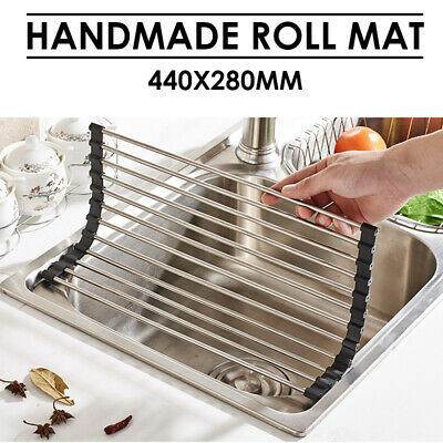 Stainless Steel Sink Kitchen Dish Drainer Foldable Drying Rack Roll-Up Holder