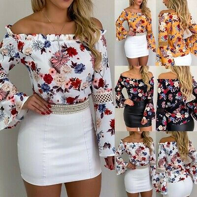Summer Womens Off Shoulder Tops Casual Blouse Long Sleeve Floral T-Shirt Lot