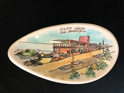Rare Vintage Cliff House San Francisco CA Hand Painted Ceramic Souvenir Dish