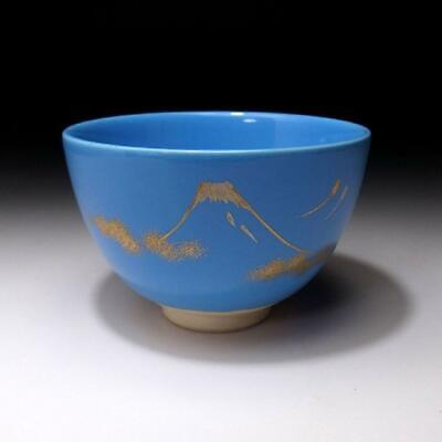 VR5: Japanese Hand-painted Tea Bowl, Kyo ware, Mt, Fuji, Light blue