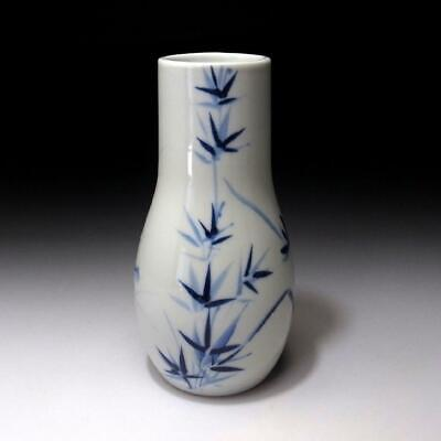 XF1: Vintage Japanese Hand-painted Porcelain Vase, Kyo Ware, Bamboo