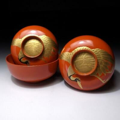 XE7: Vintage Japanese Lacquered Wooden Covered Bowls, MAKIE, Crane