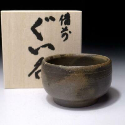 TL8: Vintage Japanese Pottery Sake cup, Bizen ware with wooden storage box