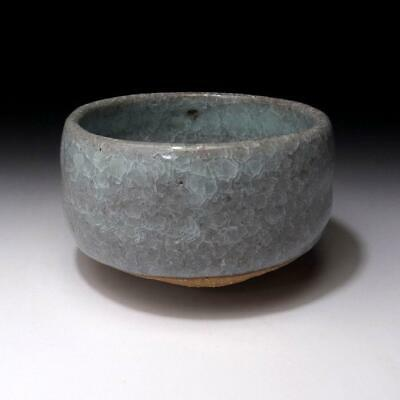 XJ1 Japanese Celadon Tea Bowl, Seto ware, Natural glaze cracks, WABI SABI taste
