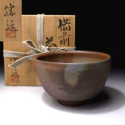 VL7: Vintage Japanese Pottery Tea bowl, Bizen ware with Signed wooden box