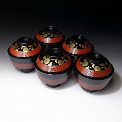TD3: Vintage Japanese 5 Lacquered Wooden Covered Bowls, Natural wood