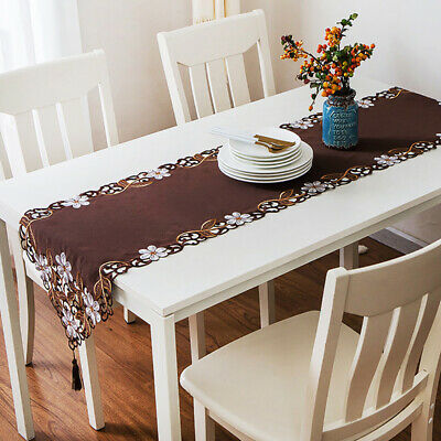 Pastoral Table Runner Tablecloth Cushion Cover Red White Flowers Embroidery B
