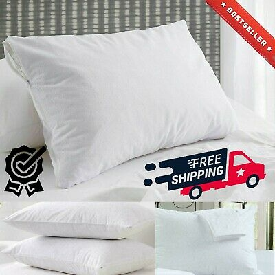 Waterproof Terry Soft Pillow Protector Cover With Zip 100% Cotton Anti Allergic