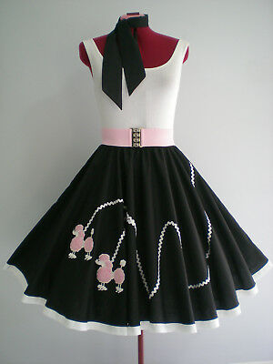 "ROCK N ROLL/ROCKABILLY  ""POODLE"" SKIRT-SCARF M-L. Black/White/Pink."