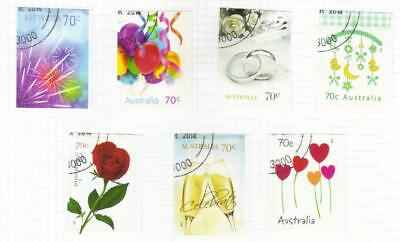 Australia 2014 Greetings Used Set Of 7 Self Adhesive