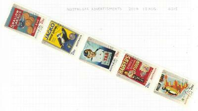 Australia 2014 Nostalgic Advertisements Used Set Of 5 Self Adhesive