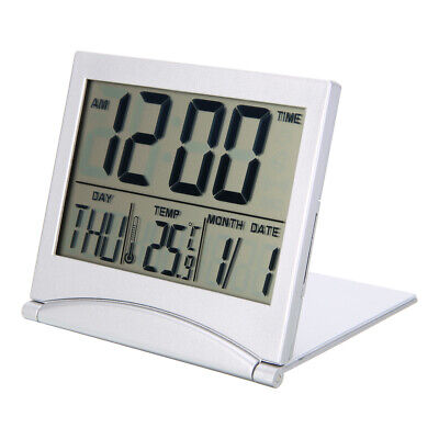 Digital LCD Travel Folding Desk Alarm Clock Timer w/ Snooze Calendar Thermometer