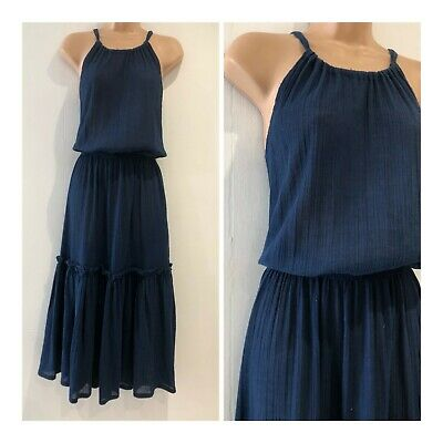 Vintage 70s Navy Blue Cheesecloth Halterneck Tiered Summer Boho Maxi Dress 12-14