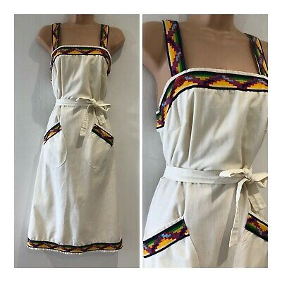 Vintage 1970's Cream Embroidered Braid Detail Button Back Wrap Dress Size 8