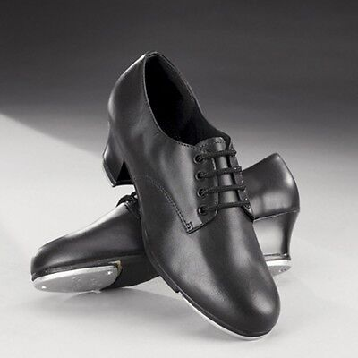 Capezio CG54 Cuban Heel Black Leather Oxford Tap Dance Shoes - UK 2 3 4 5 6 7 8