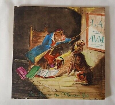 Charming Unique Antique Minton Large 21Cm Tile In French With Dogs & Mouse Story