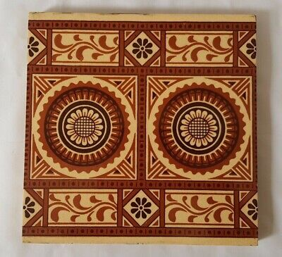 STUNNING MINTON 21CM LARGE GEOMETRIC SUNFLOWER gothic DESIGN ANTIQUE TILE