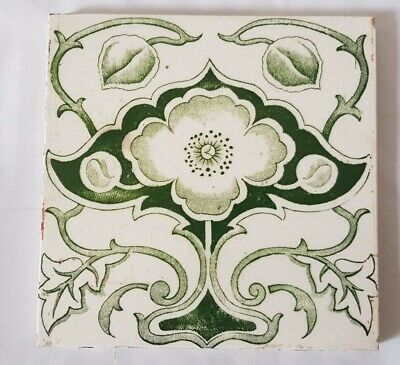 Gorgeous Art Nouveau Elegant Floral Design 6 Inch Antique Tile. 5 Available