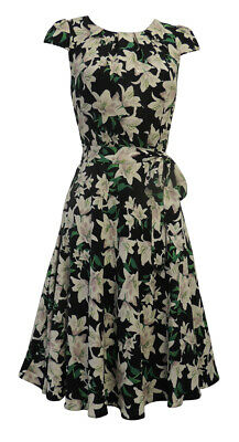 Ladies 1940's WW2 Wartime Vintage style Lilly Floral Tea Dress size 16