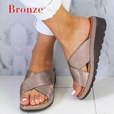 2019 Women's Slippers Comfy Platform Sandals Shoes PU Leather Bunion Corrector