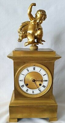 Beautiful Antique French Empire Clock All Bronze Silk Suspension Early 19c