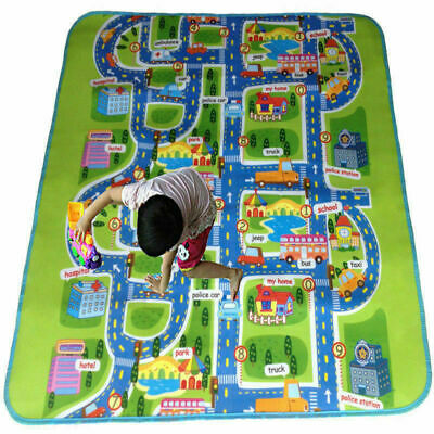 Giant Kids City Playmat Fun Town Road Cars Play Carpet Rug Foam Toy Mat Blacket
