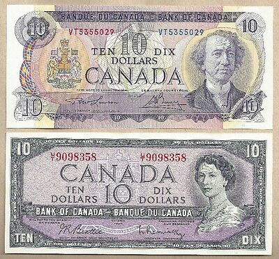 4 x $10 notes from 1954 QE2, 1971 Multi Color, 1989 Birds of Can & 2001 Journey