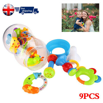 9X UK Baby Rattle and Teether Easy Grip, Baby Toy Baby Activity Toys Gift Set