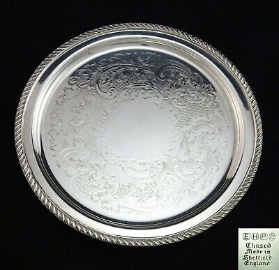 Small Vintage Ornate Chased Ehp Serving Tray Salver Gadrooned Silver Plated