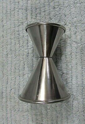 Two ended stainless steel vintage 1980's drink mixing shot cup glass A FREE S/H