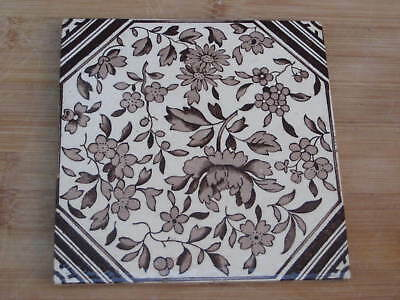 Victorian Period English Tile Aesthetic Transfer Printed Flowers
