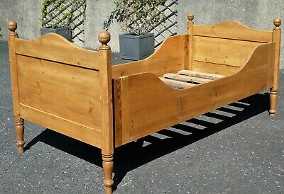 Lovely Rustic Antique French Pine Single Sleigh Bed. Child/Adult. Original.