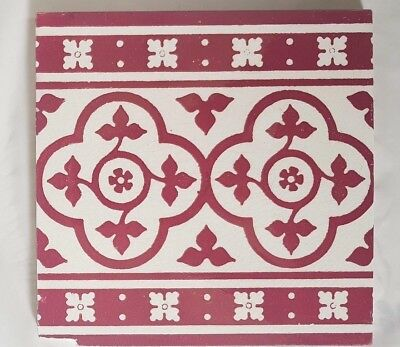 Antique Minton Large Gothic Rev Pugin Style Decadent Red Tile 8 Inch