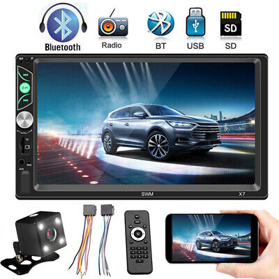 "7"" Double Din Car MP5 Player Apple Bluetooth HD Stereo Radio Mirror Link +Camera"