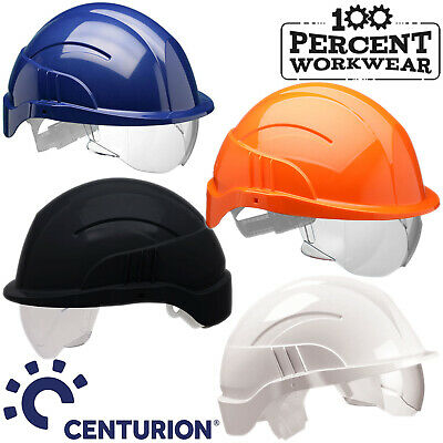 Centurion Vision Plus Safety Helmet Hard Hat Integrated Clear Retractable Visor