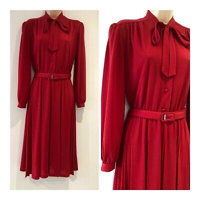 Vintage 70's Red Tie Beck Long Sleeve Belted Pleated Work Office Day dress 12-14