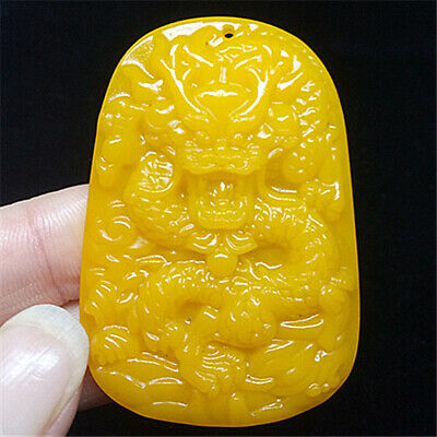 Natural jade yellow jewelry jade Pendant Amulet statue dragon 龙